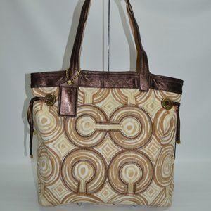 Coach Audrey Op Art Swirl Canvas Leather 17044